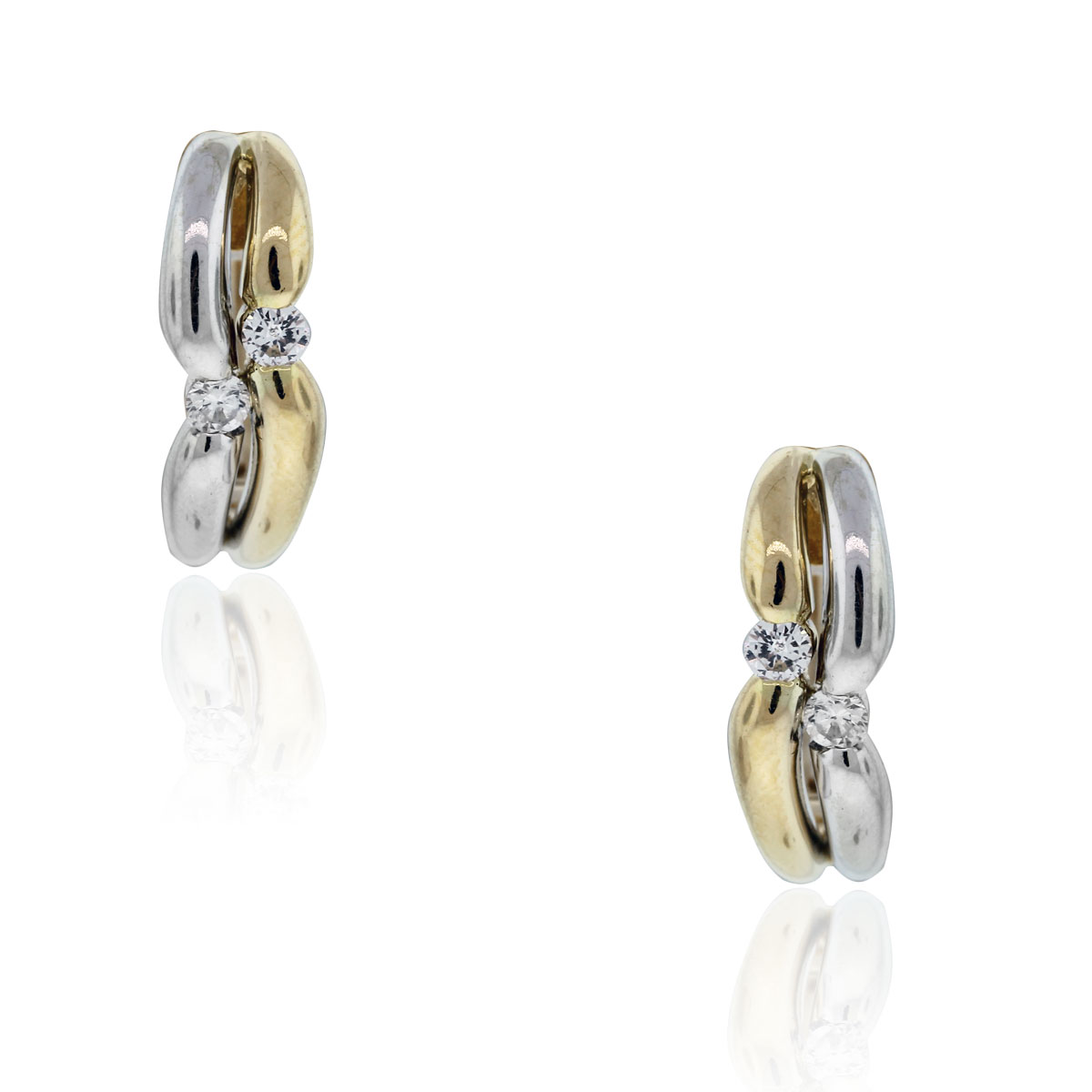 18k Two Tone 20ctw Diamond Huggie Earrings