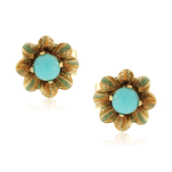 You are viewing this 14K Yellow Gold Vintage Turquoise Flower Stud Earrings