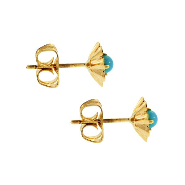 14K Yellow Gold Vintage Turquoise Flower Earrings