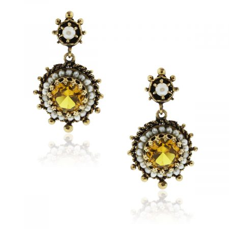 You are viewing these 14k Yellow Gold Yellow Crystal Pearl Drop Vintage Earrings!