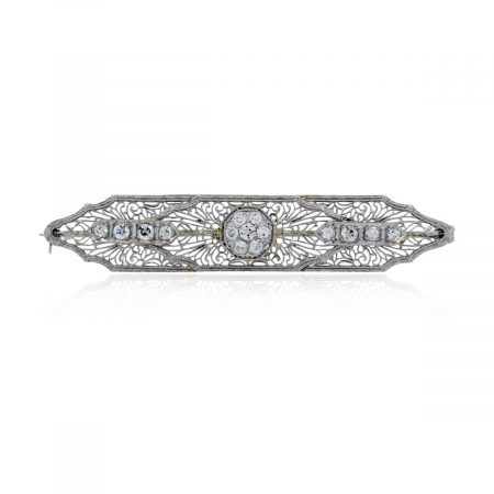 You are viewing this 14k White Gold .60ctw Diamond Vintage Pin Brooch!