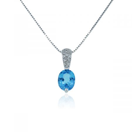 You are viewing this 14k White Gold Blue Topaz and Diamond Pendant Necklace!