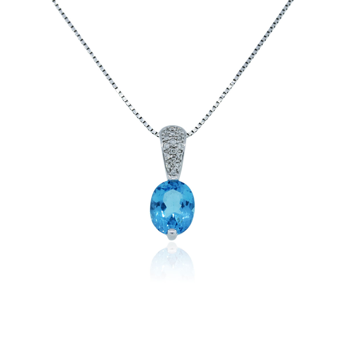 14k white gold blue topaz and pendant necklace
