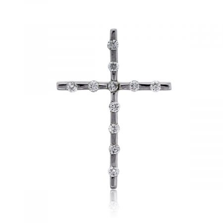 You are viewing this 14k White Gold .22ctw Diamond Cross Pendant!