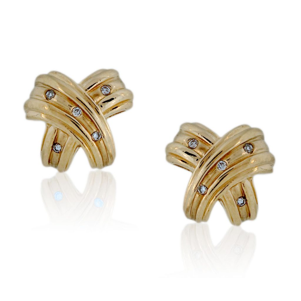 """You are viewing this 14K Yellow Gold """"X"""" .15ctw Diamond Stud Earrings"""