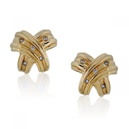 "You are viewing this 14K Yellow Gold ""X"" .15ctw Diamond Stud Earrings"