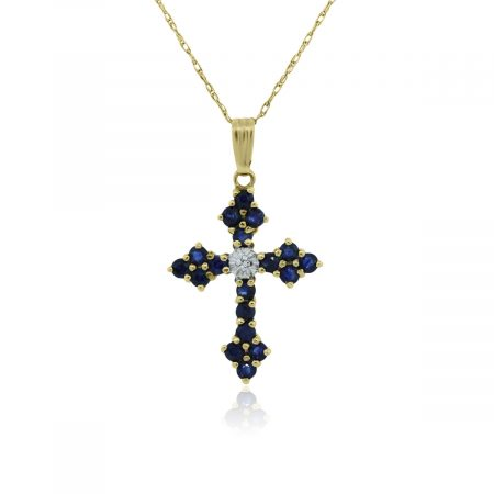 You are viewing this Yellow Gold Blue Sapphire & Diamond Cross Necklace!