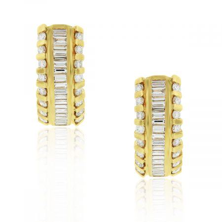 18k Gold 3.6ctw Round & Baguette Diamond Earrings