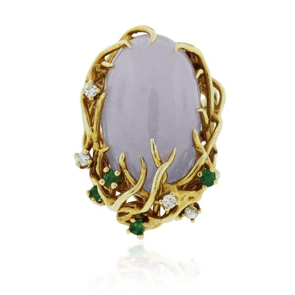 Yellow Gold Lavender Jade Emerald Diamond Ring