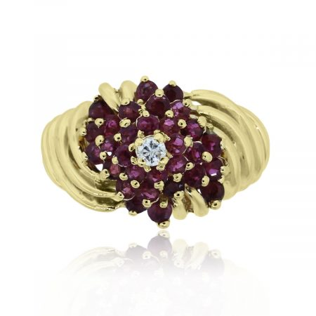 You are viewing this 14k Yellow Gold Red Ruby Diamond Cluster Ring!