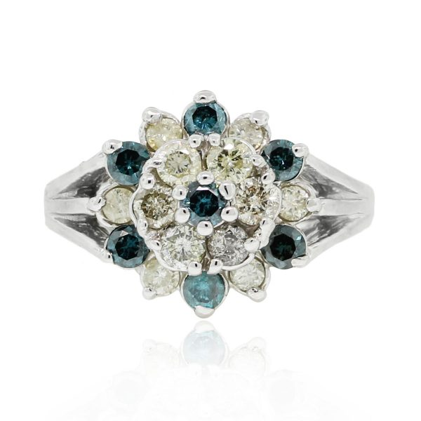 You are viewing this 18k White Gold Irradiated Blue & White Diamond Ring!