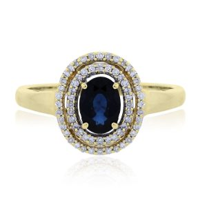 You are viewing this 14k Yellow Gold Sapphire Halo .40ctw Diamond Ring!