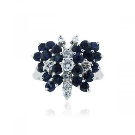 You are viewing this 14k White Gold Sapphire Diamond Cluster Butterfly Ring!