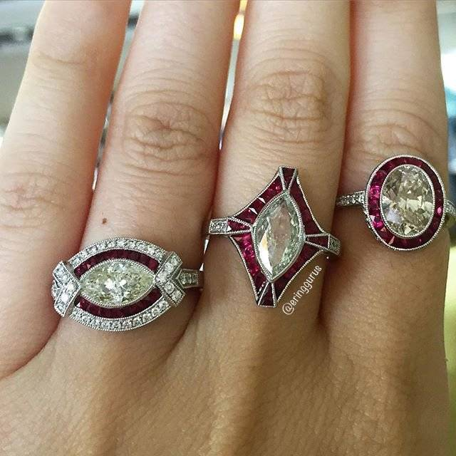 Ruby halo engagement rings