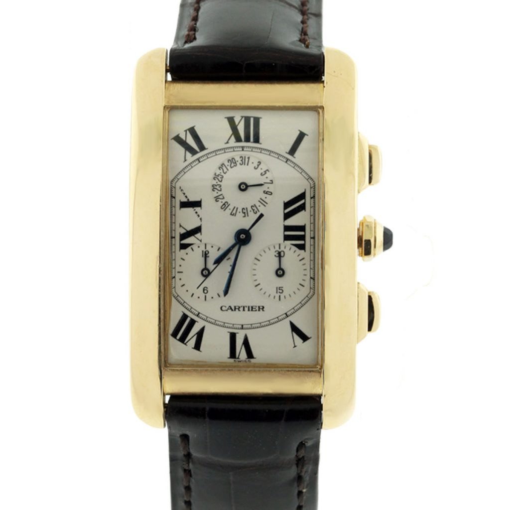 cartier tank americaine 1750 chronograph 18k gold watch. Black Bedroom Furniture Sets. Home Design Ideas