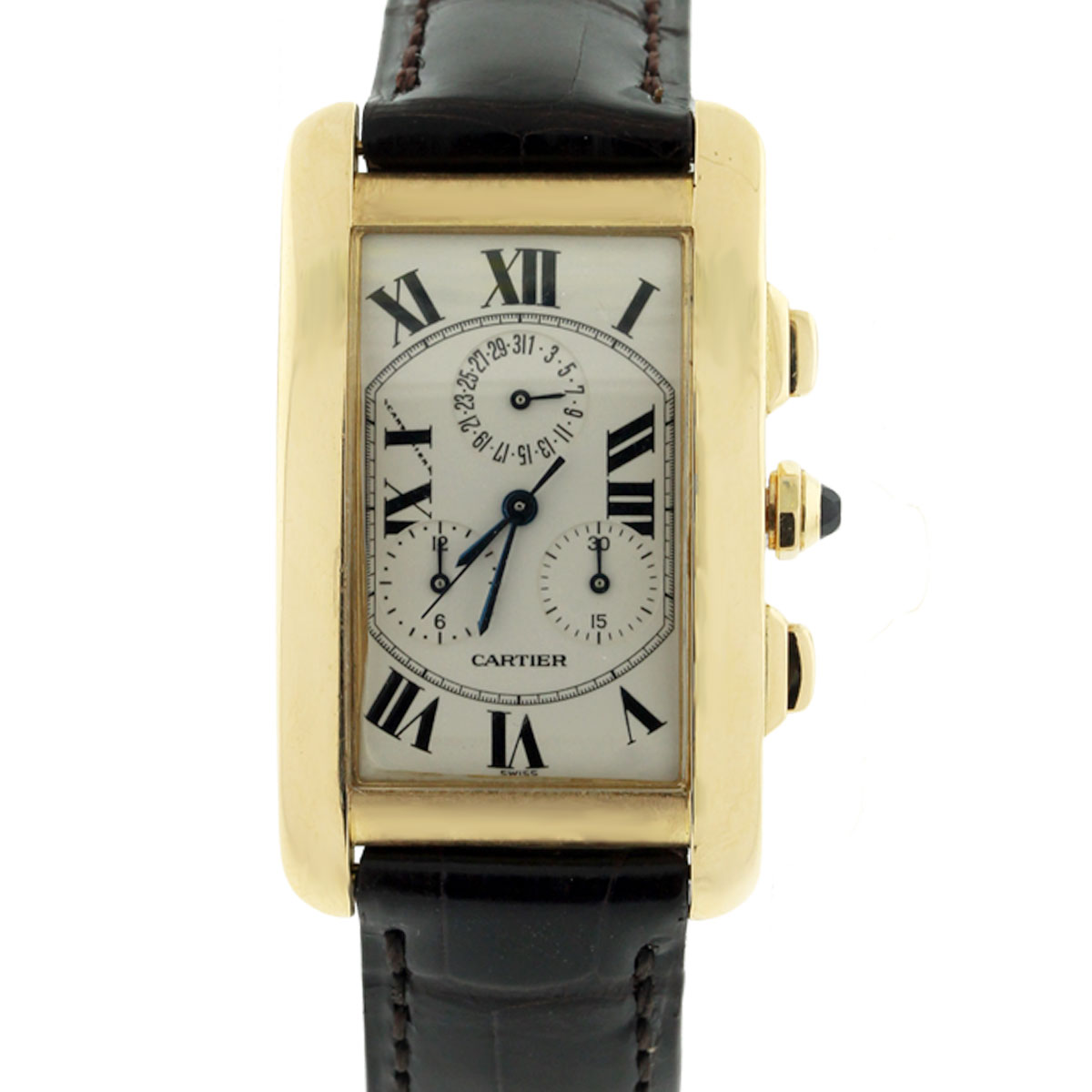 Cartier Tank Americaine 1750 Chronograph 18k Gold Watch