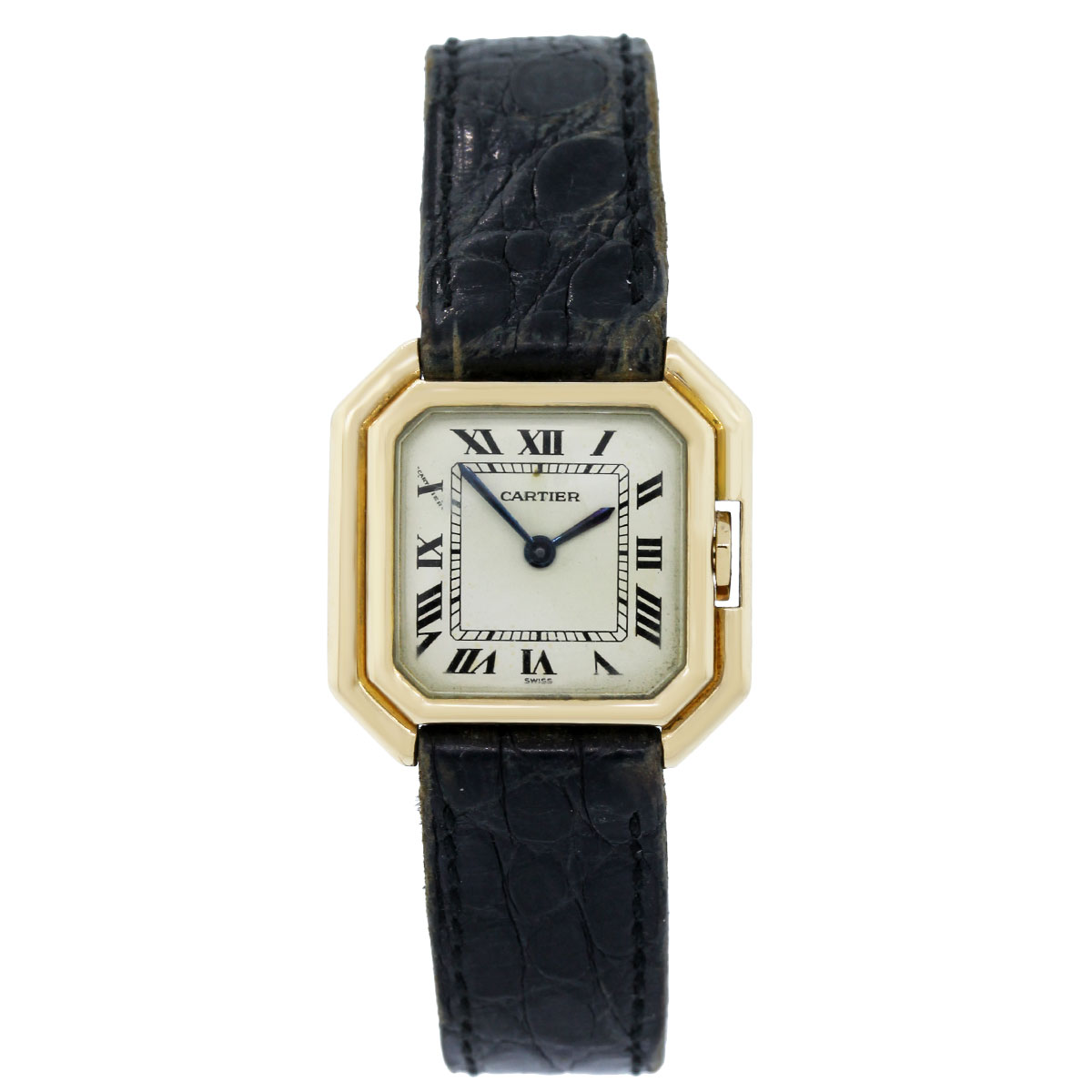 cartier 18k yellow gold on leather