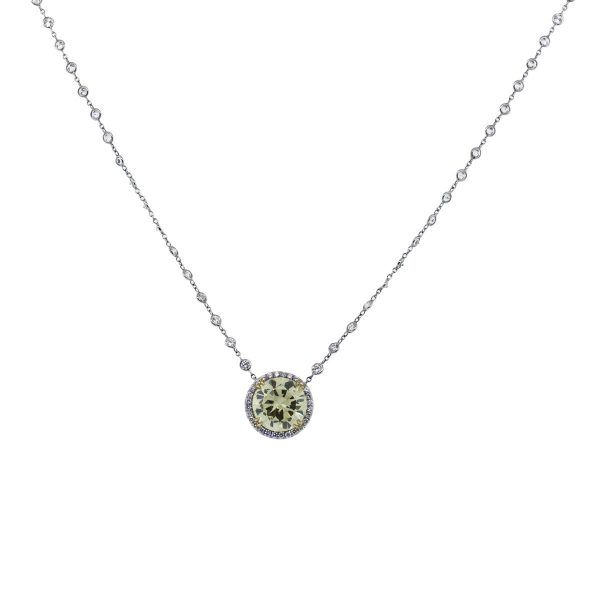 Fancy yellow diamond by the yard necklace