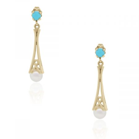 Yellow Gold Pearl and Turquoise Dangle Earrings