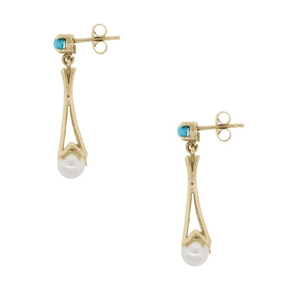 Gold and Pearl Dangle Earrings
