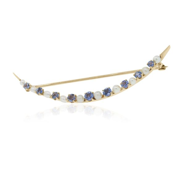 Pear Sapphire Yellow Gold Pin