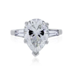 18k White Gold 5.28ct Pear Shape GIA Certified Diamond Engagement Ring