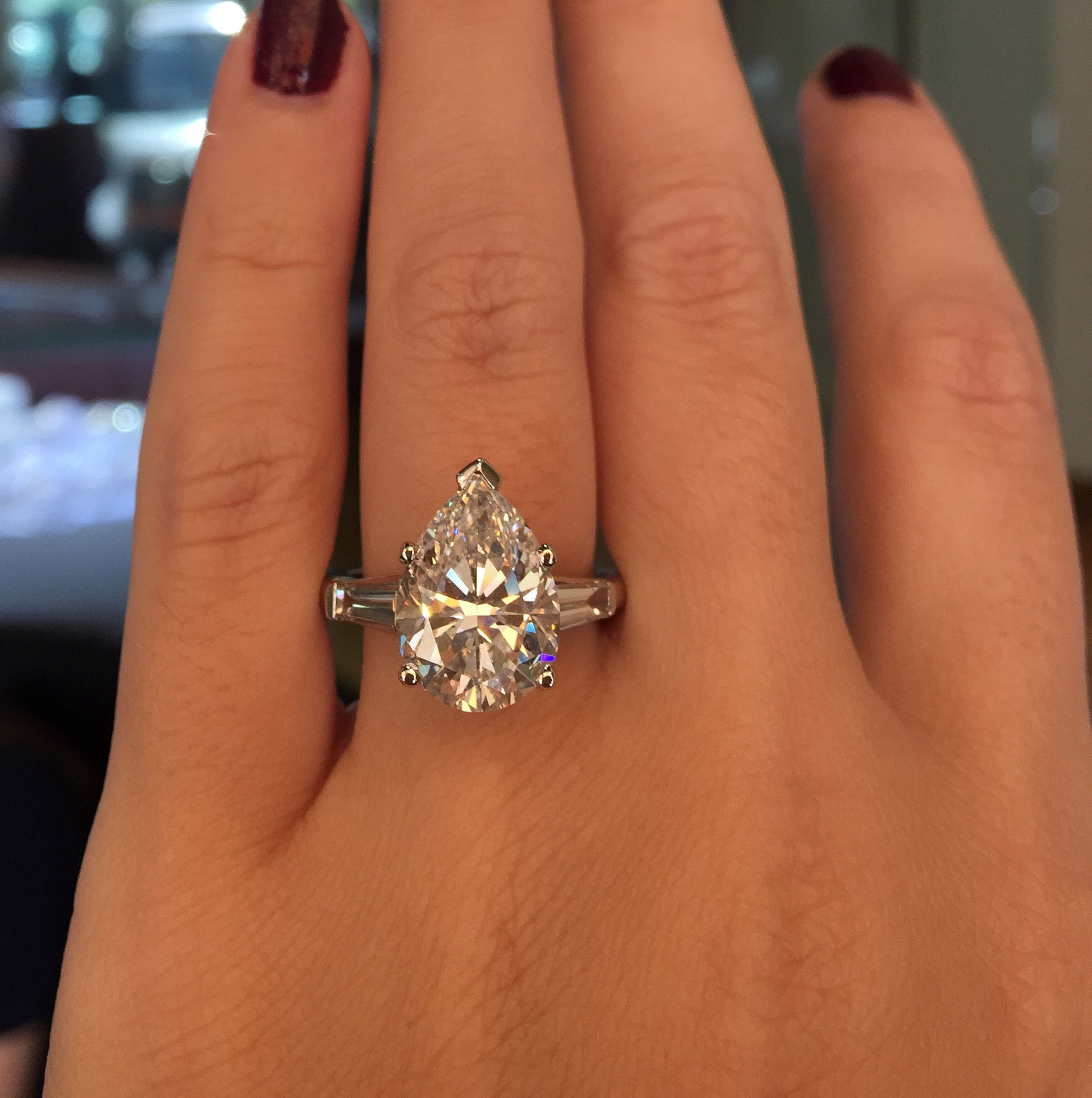 Phenomenal Platinum 5 28Ct Pear Shape Gia Certified Diamond Engagement Ring Short Hairstyles Gunalazisus