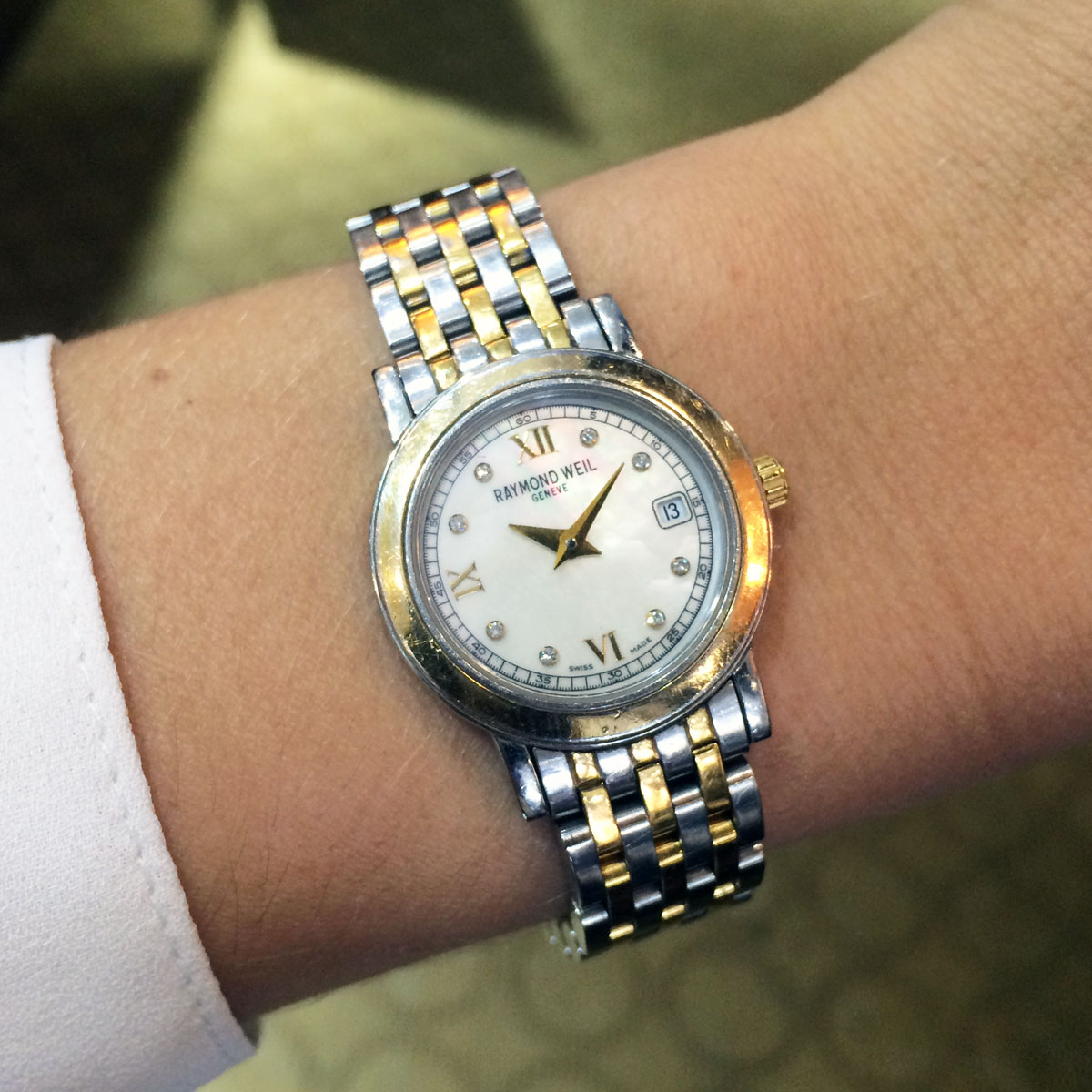 Raymond weil toccata two tone mop dial ladies watch for Raymond watches