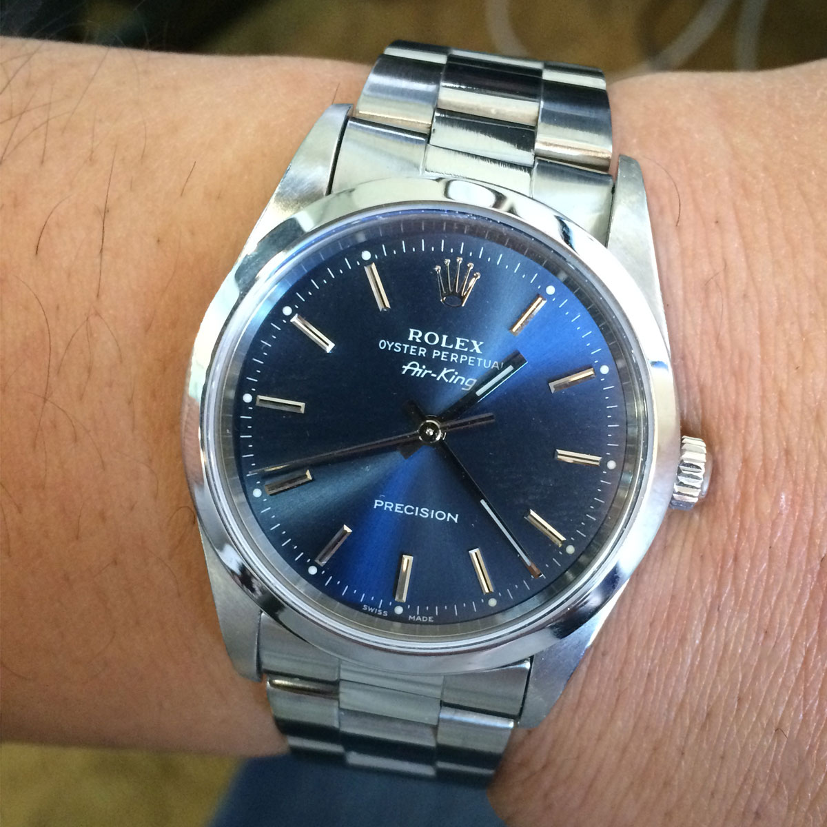 Rolex 16610 14000 air king blue dial steel watch for Rolex air king