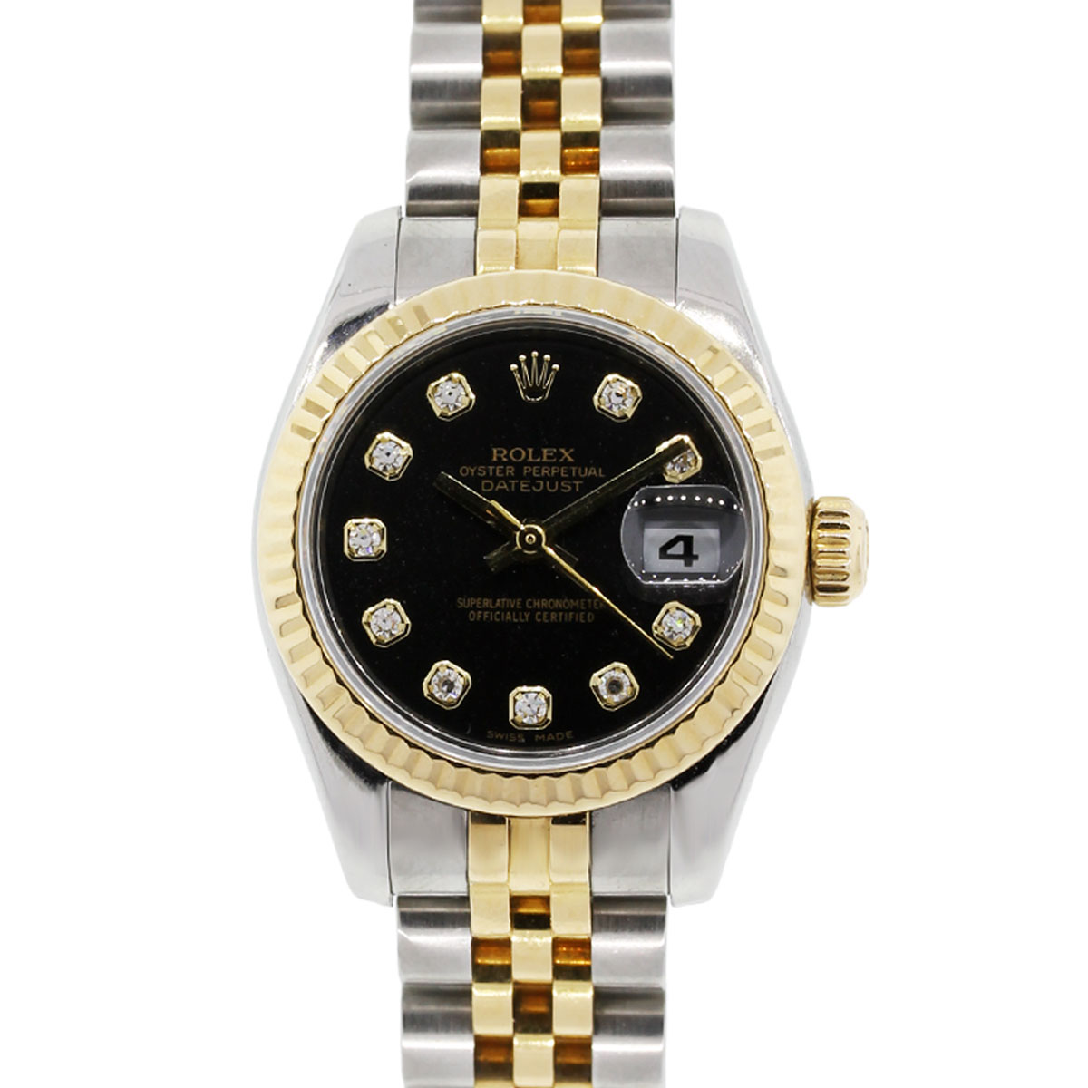 rolex 179173 datejust black diamond dial tt ladies watch