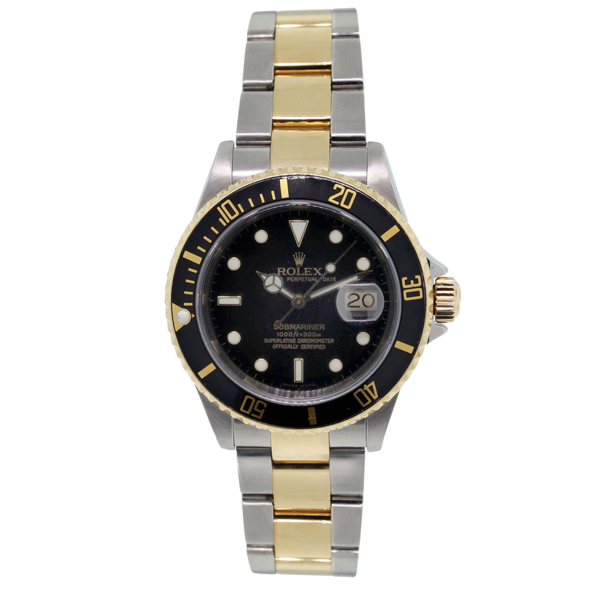 rolex submariner 116613 black dial two tone watch. Black Bedroom Furniture Sets. Home Design Ideas