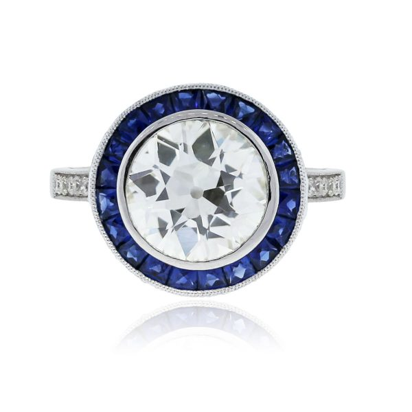 Plat. 2.78ct Round Brilliant Diamond Sapphire Halo Ring