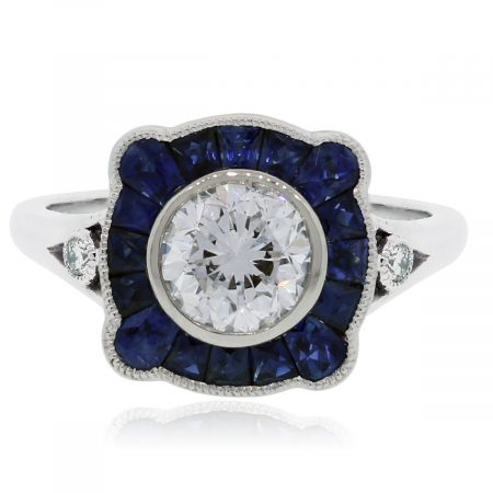 Platinum Diamond Sapphire Engagement Ring