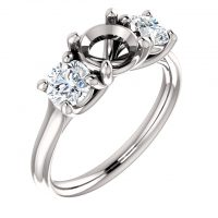 Ever & Ever 3 Stone Semi-mount Engagement Ring