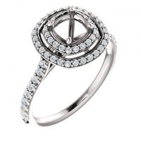 Ever & Ever Double Halo Diamond Semi-mount Engagement Ring