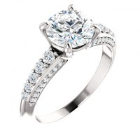 Ever & Ever Round Diamond Accented Semi-mount Engagement Ring