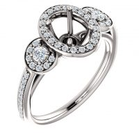 Ever & Ever Oval Diamond Accented Semi-mount Engagement Ring