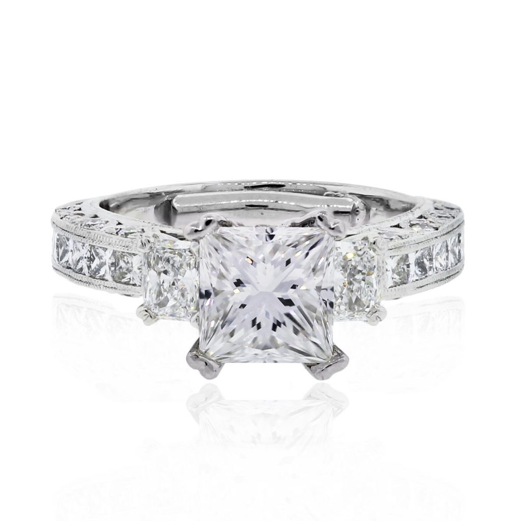 Tacori engagement rings platinum 171ct gia princess cut for Platinum princess cut wedding rings