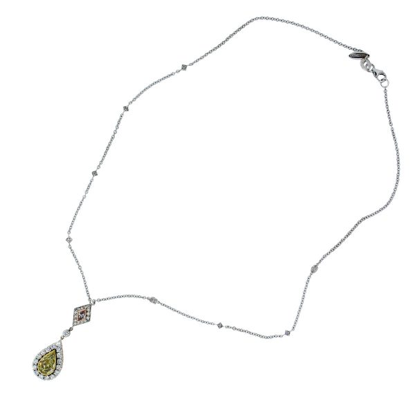 facny yellow diamond necklace