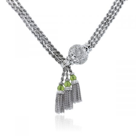 Peridot 18k white gold necklace