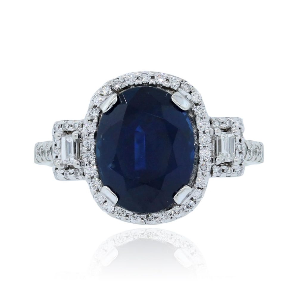 14k white gold 3 85ct oval sapphire ring
