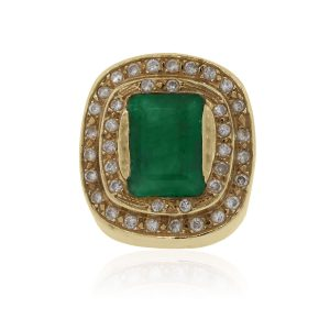 Vintage Emerald And Diamond Gold RIng