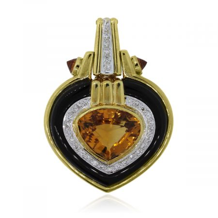 citrine onyx diamond pendant