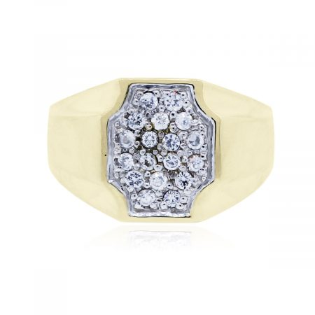 Mens diamond pave gold ring
