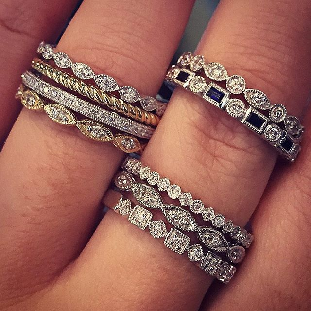Stacking diamond bands perfect for weddings and anniversaries!