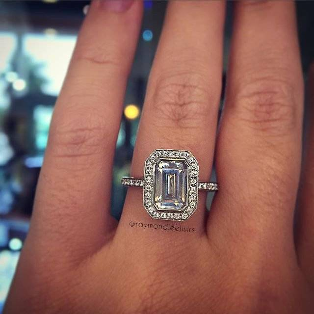 A jaffe emerald cut halo engagement ring - the perfect emerald cut solitaire!
