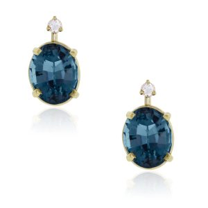 14k Yellow Gold Diamond Blue Topaz Earrings