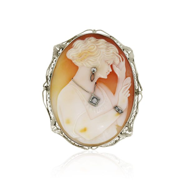 14k Yellow Gold Diamond Large Cameo Brooch