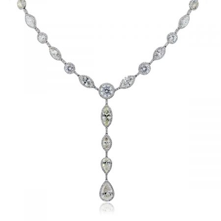 Platinum Micro pave pear shape diamond necklace