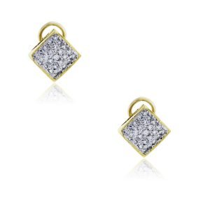 14k Yellow Gold 1.25ctw Diamond Pave Stud Earrings